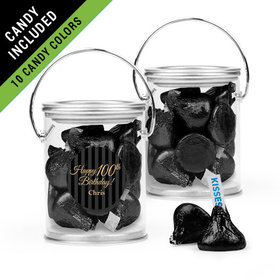 Personalized Milestones 100th Birthday Favor Assembled Paint Can Filled with Hershey's Kisses