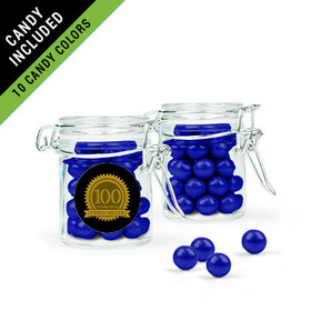 Personalized Milestones 100th Birthday Favor Assembled Swing Top Round Jar Filled with Sixlets