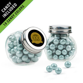 Personalized Milestones 100th Birthday Favor Assembled Mini Side Jar Filled with Sixlets