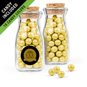 Personalized Milestones 100th Birthday Favor Assembled Glass Bottle with Cork Top Filled with Sixlets