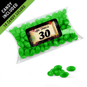 Personalized Milestones 30th Birthday Favor Assembled Pillow Box Filled with Just Candy Jelly Beans