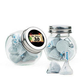 Personalized Milestones 30th Birthday Favor Assembled Mini Side Jar Filled with Hershey's Kisses