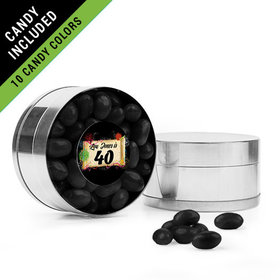 Personalized Milestones 40th Birthday Favor Assembled Small Round Plastic Tin Filled with Just Candy Jelly Beans