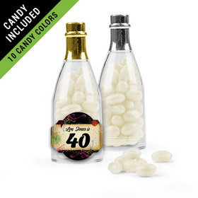 Personalized Milestones 40th Birthday Favor Assembled Champagne Bottle Filled with Just Candy Jelly Beans