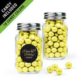 Personalized Milestones 40th Birthday Favor Assembled Mini Mason Jar Filled with Sixlets