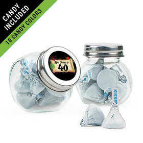 Personalized Milestones 40th Birthday Favor Assembled Mini Side Jar Filled with Hershey's Kisses