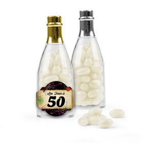 Personalized Milestones 50th Birthday Favor Assembled Champagne Bottle Filled with Just Candy Jelly Beans