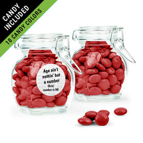 Personalized Milestones 50th Birthday Favor Assembled Swing Top Jar Filled with Just Candy Milk Chocolate Minis