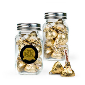 Personalized Milestones 50th Birthday Favor Assembled Mini Mason Jar Filled with Hershey's Kisses