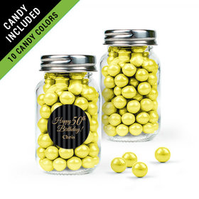 Personalized Milestones 50th Birthday Favor Assembled Mini Mason Jar Filled with Sixlets