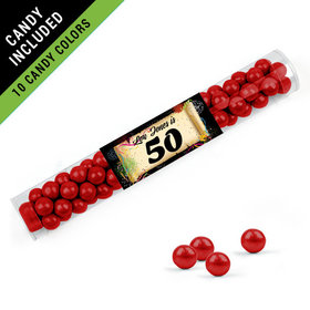 Personalized Milestones 50th Birthday Favor Assembled Clear Tube Filled with Sixlets