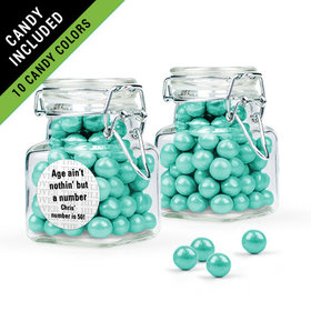Personalized Milestones 50th Birthday Favor Assembled Swing Top Square Jar Filled with Sixlets