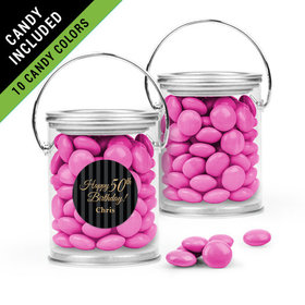 Personalized Milestones 50th Birthday Favor Assembled Paint Can Filled with Just Candy Milk Chocolate Minis