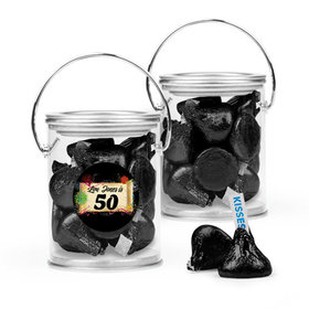 Personalized Milestones 50th Birthday Favor Assembled Paint Can Filled with Hershey's Kisses