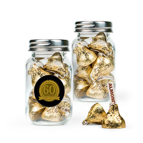 Personalized Milestones 60th Birthday Favor Assembled Mini Mason Jar Filled with Hershey's Kisses