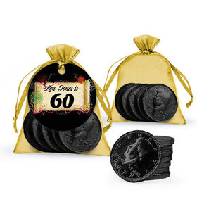 Personalized Milestones 60th Birthday Favor Assembled Gift tag, Organza Bag Filled with Milk Chocolate Coins