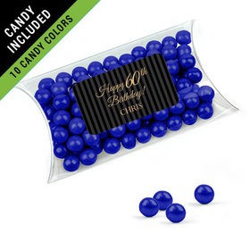 Personalized Milestones 60th Birthday Favor Assembled Pillow Box Filled with Sixlets