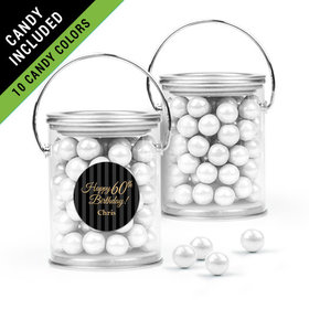 Personalized Milestones 60th Birthday Favor Assembled Paint Can Filled with Sixlets