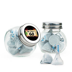 Personalized Milestones 60th Birthday Favor Assembled Mini Side Jar Filled with Hershey's Kisses
