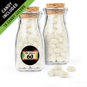 Personalized Milestones 60th Birthday Favor Assembled Glass Bottle with Cork Top Filled with Just Candy Jelly Beans