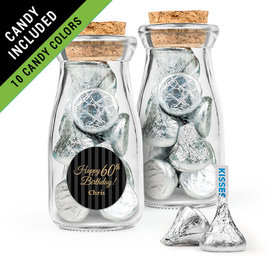 Personalized Milestones 60th Birthday Favor Assembled Glass Bottle with Cork Top Filled with Hershey's Kisses