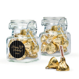 Personalized Milestones 70th Birthday Favor Assembled Swing Top Square Jar Filled with Hershey's Kisses