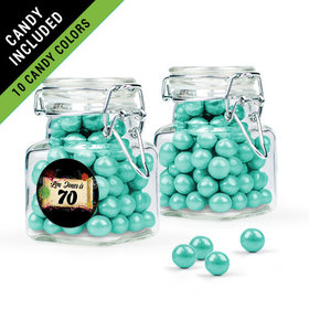 Personalized Milestones 70th Birthday Favor Assembled Swing Top Square Jar Filled with Sixlets