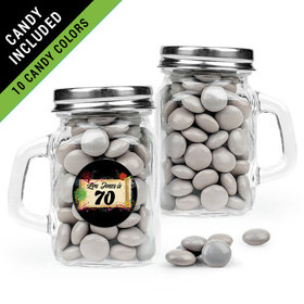 Personalized Milestones 70th Birthday Favor Assembled Mini Mason Mug Filled with Just Candy Milk Chocolate Minis