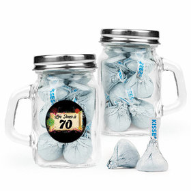 Personalized Milestones 70th Birthday Favor Assembled Mini Mason Mug Filled with Hershey's Kisses