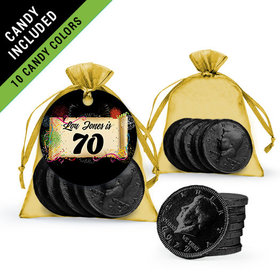 Personalized Milestones 70th Birthday Favor Assembled Gift tag, Organza Bag Filled with Milk Chocolate Coins