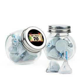 Personalized Milestones 70th Birthday Favor Assembled Mini Side Jar Filled with Hershey's Kisses