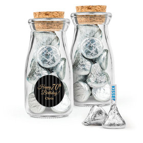 Personalized Milestones 70th Birthday Favor Assembled Glass Bottle with Cork Top Filled with Hershey's Kisses