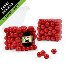 Personalized Milestones 80th Birthday Favor Assembled Clear Box Filled with Sixlets