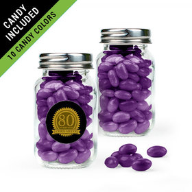 Personalized Milestones 80th Birthday Favor Assembled Mini Mason Jar Filled with Just Candy Jelly Beans