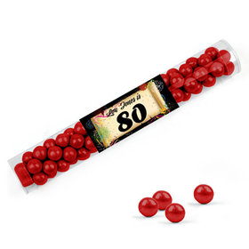 Personalized Milestones 80th Birthday Favor Assembled Clear Tube Filled with Sixlets