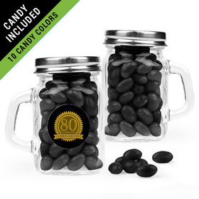 Personalized Milestones 80th Birthday Favor Assembled Mini Mason Mug Filled with Just Candy Jelly Beans