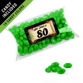 Personalized Milestones 80th Birthday Favor Assembled Pillow Box Filled with Just Candy Jelly Beans