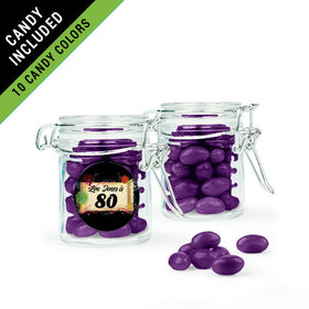 Personalized Milestones 80th Birthday Favor Assembled Swing Top Round Jar Filled with Just Candy Jelly Beans