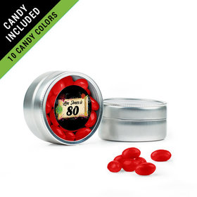 Personalized Milestones 80th Birthday Favor Assembled Mini Round Tin Filled with Just Candy Jelly Beans