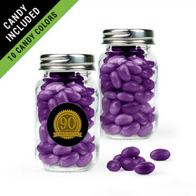 Personalized Milestones 90th Birthday Favor Assembled Mini Mason Jar Filled with Just Candy Jelly Beans
