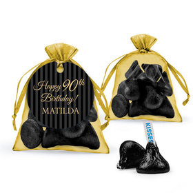 Personalized Milestones 90th Birthday Favor Assembled Organza Bag Filled with Hershey's Kisses