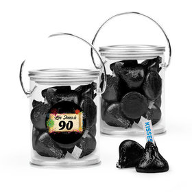 Personalized Milestones 90th Birthday Favor Assembled Paint Can Filled with Hershey's Kisses