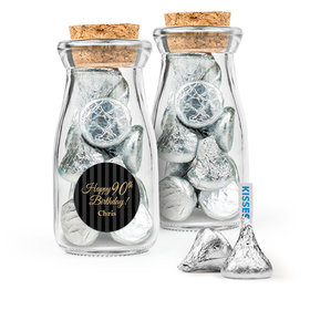 Personalized Milestones 90th Birthday Favor Assembled Glass Bottle with Cork Top Filled with Hershey's Kisses