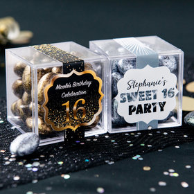 Personalized Sweet 16 Birthday JUST CANDY® favor cube with Premium Almond Jewels