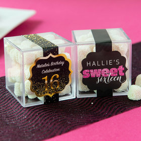 Personalized Sweet 16 Birthday JUST CANDY® favor cube with Jelly Belly Gumdrops