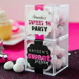 Personalized Sweet 16 Birthday JUST CANDY® favor cube with Premium Confetti Cookie Bites