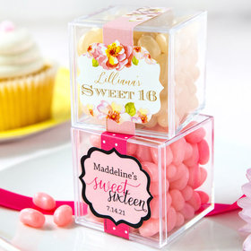 Personalized Sweet 16 Birthday JUST CANDY® favor cube with Jelly Belly Jelly Beans