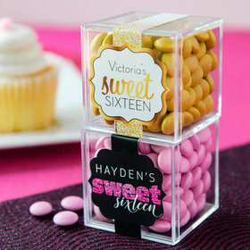 Personalized Sweet 16 Birthday JUST CANDY® favor cube with Just Candy Milk Chocolate Minis