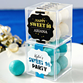 Personalized Sweet 16 Birthday JUST CANDY® favor cube with Premium Malted Milk Balls
