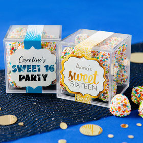Personalized Sweet 16 Birthday JUST CANDY® favor cube with Rainbow Berries
